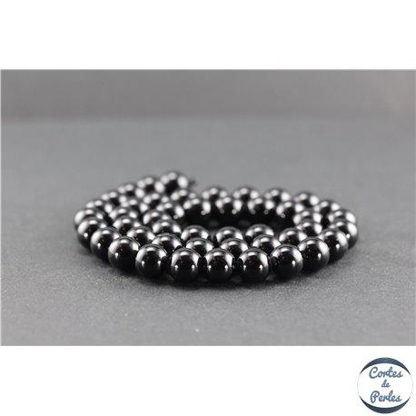Perles en tourmaline noire de Madagascar - Rondes/8 mm - Grade AB