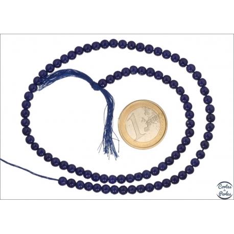 Perles semi précieuses en agate - Ronde/4,5 mm - Bleu lapis