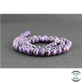 Perles en charoïte de Russie - Rondes/6mm - Grade AA