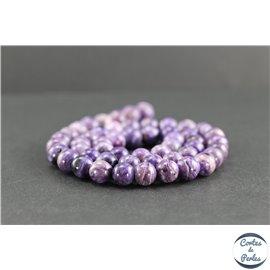 Perles en charoïte de Russie - Rondes/8mm - Grade AA