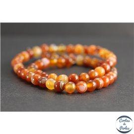 Perles en agate orange - Rondes/6mm