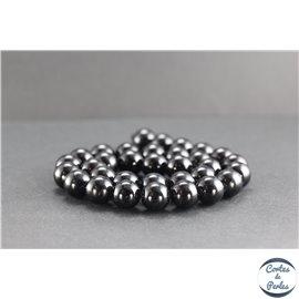 Perles en tourmaline noire de Madagascar - Rondes/12mm - Grade AB