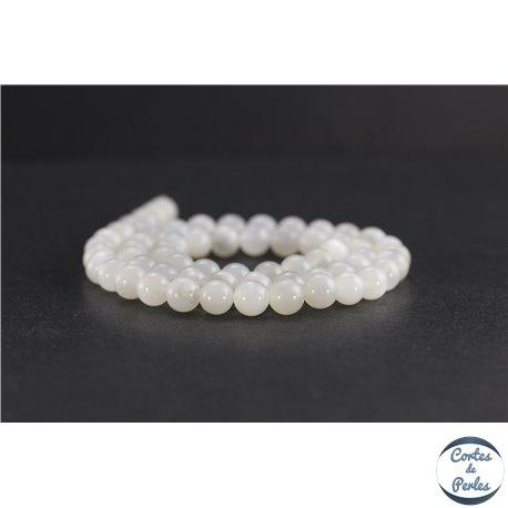 Perles en pierre de Lune opalescente du Sri Lanka - Rondes/6 mm - Grade AB