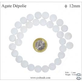 Perles semi précieuses en agate - Rondes/12 mm - Blanc dépoli