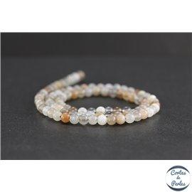Perles en pierre de Soleil grise - Rondes/4mm - Grade A