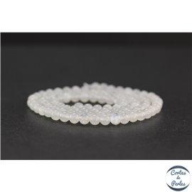 Perles en pierre de Lune opalescente d'Inde - Rondes/4 mm - Grade AA
