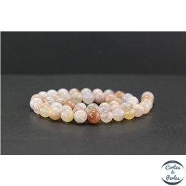 Perles en agate fleur de cerisier - Rondes/8mm - Grade AA