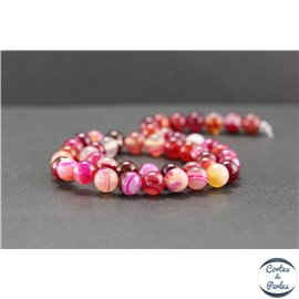 Perles en agate dark fuschia - Rondes/8mm