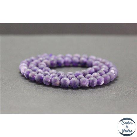 Perles dépolies en améthyste - Rondes/6mm - Grade A