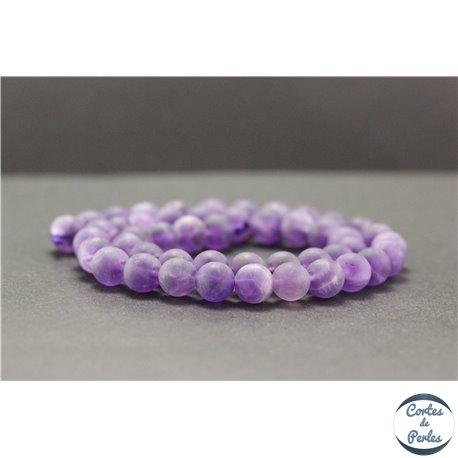 Perles dépolies en améthyste - Rondes/8mm - Grade A