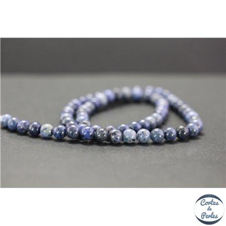 Perles en dumortiérite d'Afrique du Sud - Rondes/6mm - Grade AA