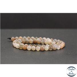 Perles en pierre de Soleil grise - Rondes/6mm - Grade A+