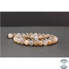 Perles en pierre de Soleil grise - Rondes/8mm - Grade A+
