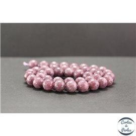 Perles en lépidolite du Brésil - Rondes/10mm - Grade A