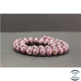 Perles en lépidolite du Brésil - Rondes/8mm - Grade A