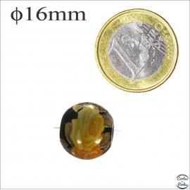 Perles Japonaises Tensha - Ronde/16 mm - Jaune