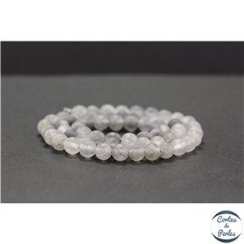 Perles dépolies en quartz nuage - Rondes/6mm