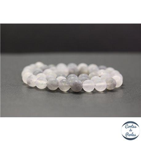 Perles dépolies en quartz nuage - Rondes/8mm