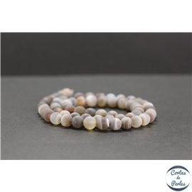 Perles dépolies en agate du Botswana - Rondes/6mm