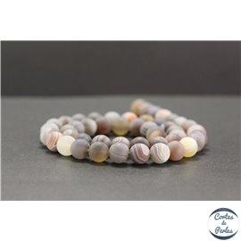 Perles dépolies en agate du Botswana - Rondes/8mm