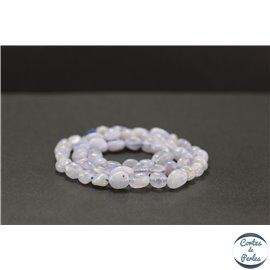 Perles en calcédoine rubanée bleue - Nuggets/5-8mm - Grade AB