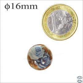 Perles japonaises tensha - Rondes/16 mm - Jaune et bleu