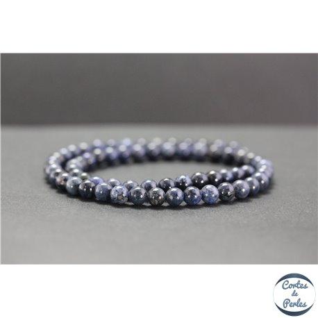 Perles en dumortiérite d'Afrique du Sud - Rondes/6mm - Grade A