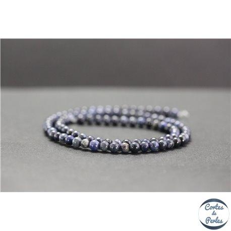 Perles en dumortiérite d'Afrique du Sud - Rondes/4mm - Grade A