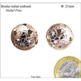 Apprêts boules de métal - Rondes/21 mm - Argenté