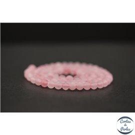 Perles dépolies en quartz rose - Rondes/4mm - Grade AB