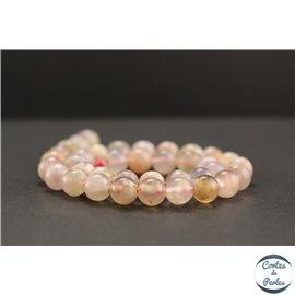 Perles en agate fleur de cerisier - Rondes/10mm - Grade AA