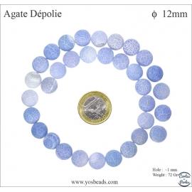 Perles semi précieuses en agate - Rondes/12 mm - Bleu lavande dépoli