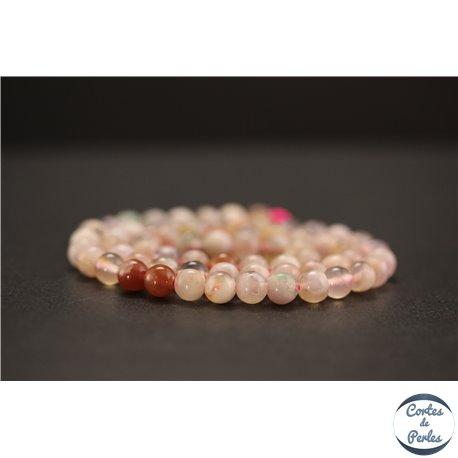 Perles en agate fleur de cerisier - Rondes/6mm - Grade AA
