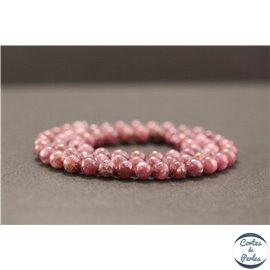 Perles en lépidolite du Brésil - Rondes/6mm - Grade A