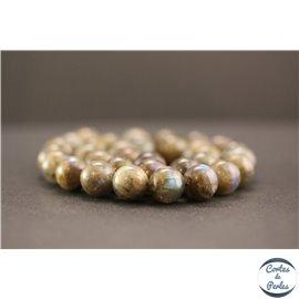 Perles en labradorite dark de Madagascar - Rondes/12mm - Grade AA