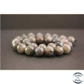 Perles en labradorite dark de Madagascar - Rondes/14mm - Grade A