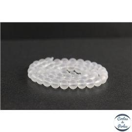 Perles dépolies en cristal de roche - Rondes/6mm - Grade A
