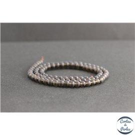 Perles dépolies en quartz fumé du Brésil - Rondes/4mm - Grade A
