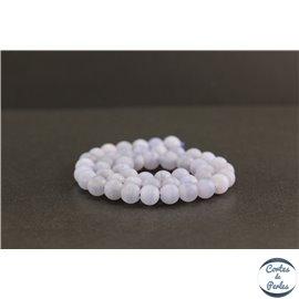 Perles dépolies en calcédoine rubanée de Turquie - Rondes/8mm - Grade A