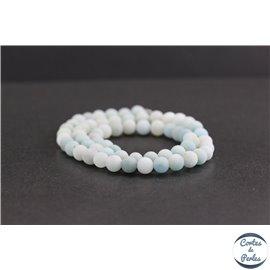 Perles dépolies en amazonite - Rondes/6mm - Grade A