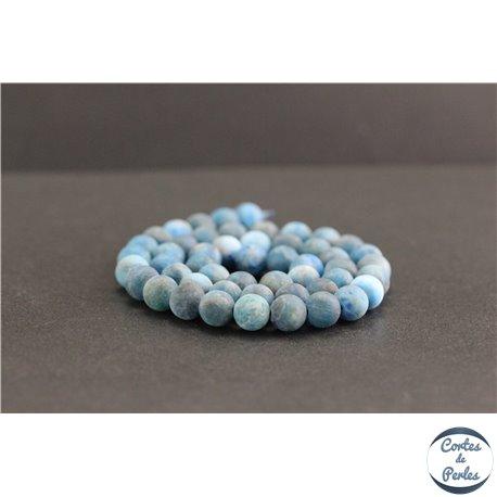 Perles dépolies en apatite de Madagascar - Rondes/8mm - Grade A