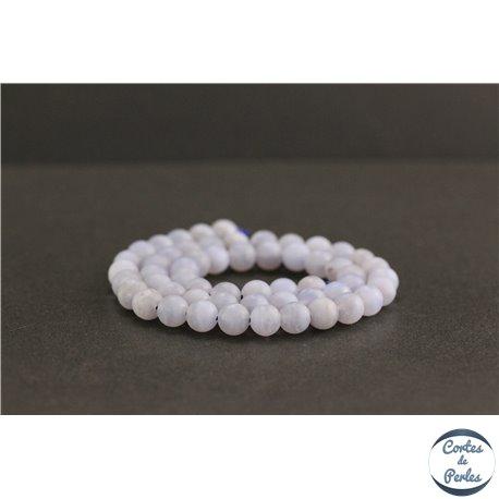 Perles dépolies en calcédoine rubanée de Turquie - Rondes/6mm - Grade A