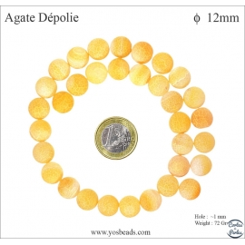 Perles semi précieuses en Agate - Ronde/12 mm - Jaune