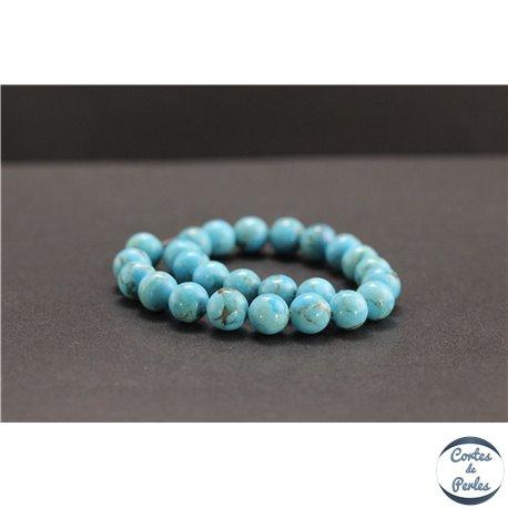 Perles en turquoise Kingman d'Arizona - Rondes/8mm - Grade A