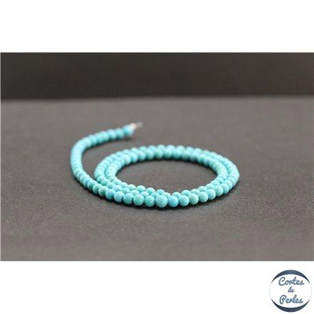 Perles en turquoise Kingman d'Arizona - Rondes/4mm- Grade AA