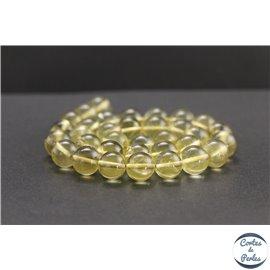 Perles en quartz citron du Brésil - Rondes/12mm - Grade A