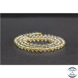 Perles en quartz citron du Brésil - Rondes/4mm - Grade A