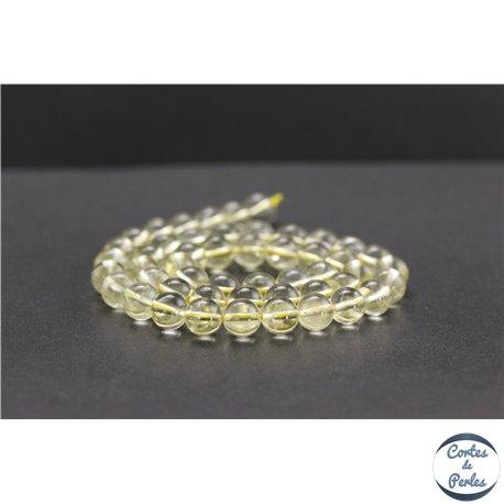 Perles en quartz citron du Brésil - Rondes/8mm - Grade A