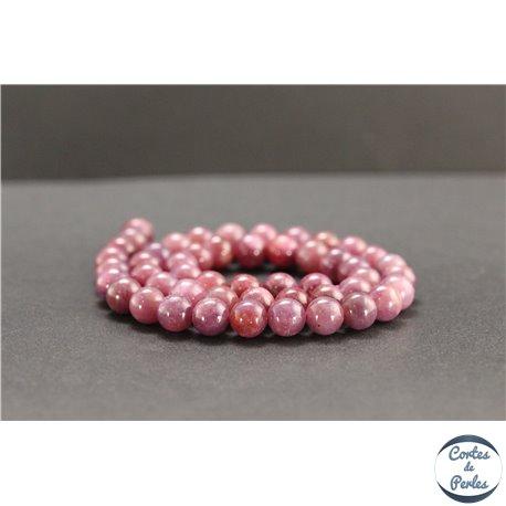 Perles en rubis de Birmanie - Rondes/8mm - Grade AB