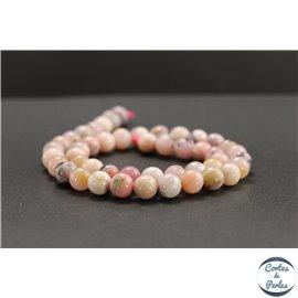 Perles en opale rose d'Afrique - Rondes/8mm - Grade AB